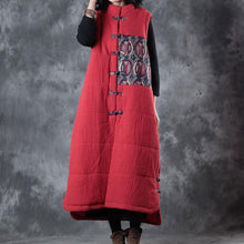 Load image into Gallery viewer, New red down overcoat oversize Chinese Button Parka thick pockets Sleeveless cotton outwear