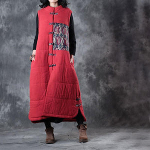 New red down overcoat oversize Chinese Button Parka thick pockets Sleeveless cotton outwear