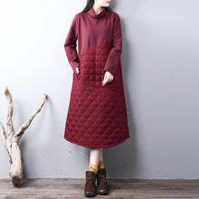 Load image into Gallery viewer, New red for women casual high neck winter dress Warm YZ-2018111416