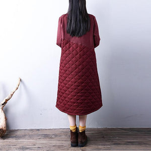 New red for women casual high neck winter dress Warm YZ-2018111416