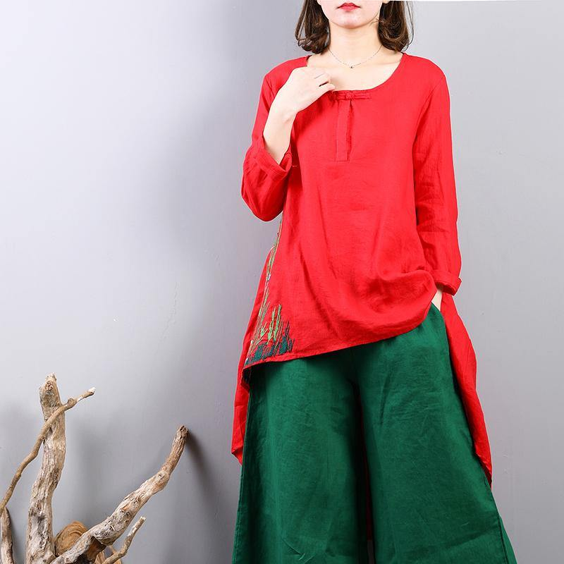 New red linen tops plus size clothing traveling clothing New asymmetric hem embroidery cotton clothing