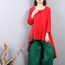 Load image into Gallery viewer, New red linen tops plus size clothing traveling clothing New asymmetric hem embroidery cotton clothing