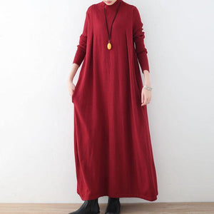 New red long sweaters plus size clothing high neck long knit sweaters women large hem pullover dresses
