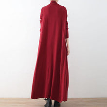 Load image into Gallery viewer, New red long sweaters plus size clothing high neck long knit sweaters women large hem pullover dresses