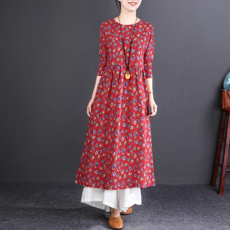 New red print cotton linen maxi dress oversized O neck wrinkled cotton linen gown Fine long sleeve baggy dresses