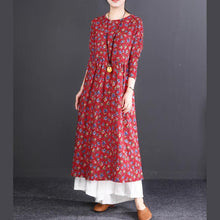 Load image into Gallery viewer, New red print cotton linen maxi dress oversized O neck wrinkled cotton linen gown Fine long sleeve baggy dresses
