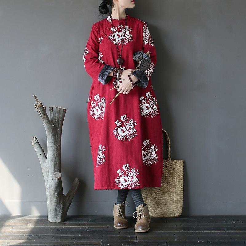 New red print for women oversize stand collar warm winter dress New patchwork winter dresses