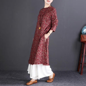 New red print natural cotton dress trendy plus size O neck traveling dress 2018 long sleeve baggy dresses