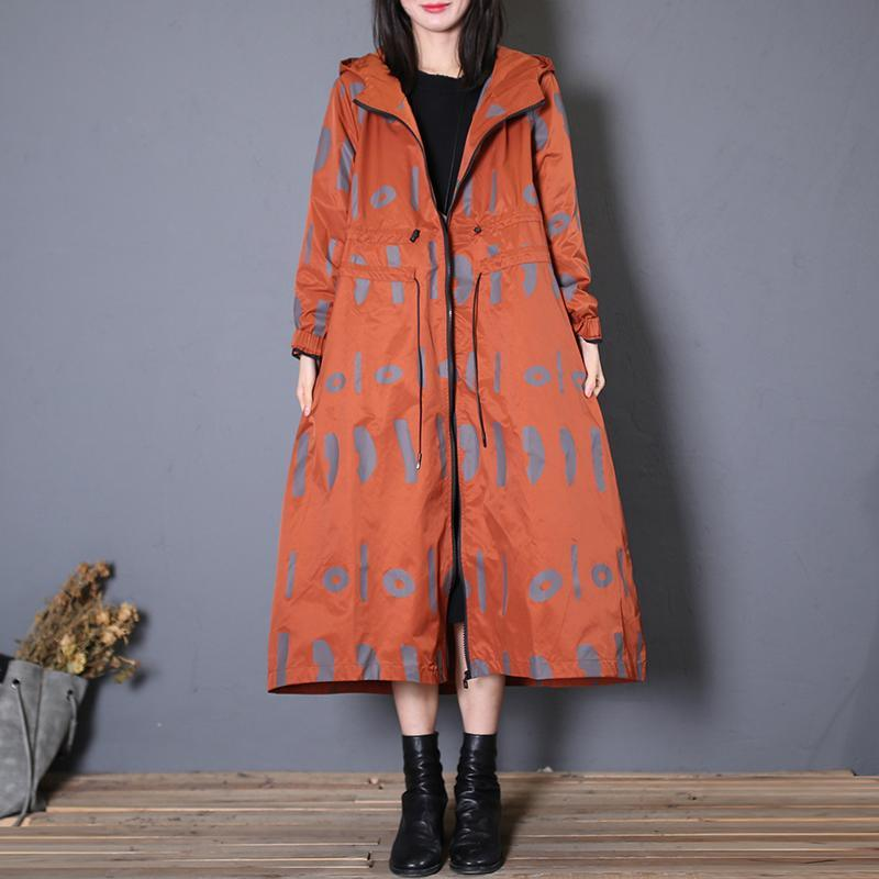 New red prints oversized Jackets & Coats fall jacket hooded