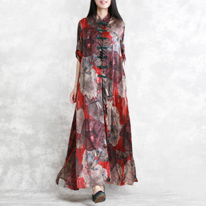 New red prints silk dresses oversized half sleeve shirt silk clothing dresses 2018 side open chiffon maxi dresses