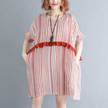 Load image into Gallery viewer, New red striped natural cotton linen dress trendy plus size linen cotton dress casual short sleeve patchwork o neck baggy dresses cotton linen dresses