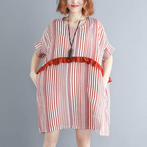 New red striped natural cotton linen dress trendy plus size linen cotton dress casual short sleeve patchwork o neck baggy dresses cotton linen dresses