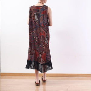 New red yellow prints natural chiffon dress  plus size tassel gown Fine v neck caftans