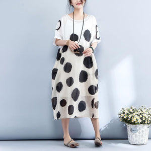 New silk linen maxi dress trendy plus size Loose Short Sleeve Dots Printed Round Neck Dress