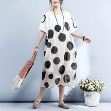 Load image into Gallery viewer, New silk linen maxi dress trendy plus size Loose Short Sleeve Dots Printed Round Neck Dress