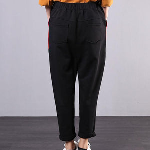 New stitching wild elastic waist cropped casual black pants