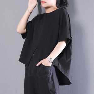 New summer t shirt plus size clothing Women Black Cotton Short Sleeve Pleated Loose Tops