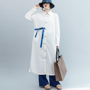 New white cotton dresses oversized Turn-down Collar side open traveling dress vintage long sleeve tie waist cotton dressesbaggy nude natural linen dress