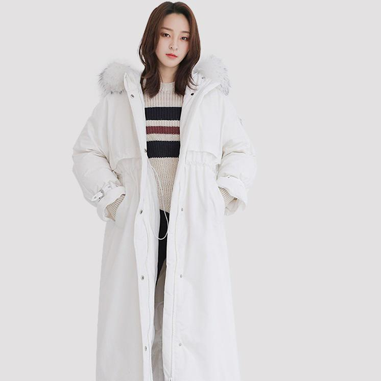 New white down jacket woman plus size clothing hooded down jacket fur collar overcoat