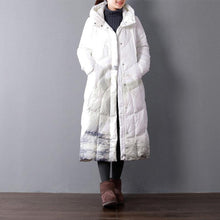 Load image into Gallery viewer, New white print down coat winter plus size clothing hooded women parka zippered down overcoat