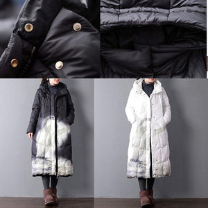 New white print down coat winter plus size clothing hooded women parka zippered down overcoat