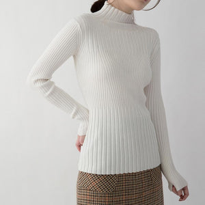 New white pullover Loose fitting Turtleneck shirts women slim brief sweater