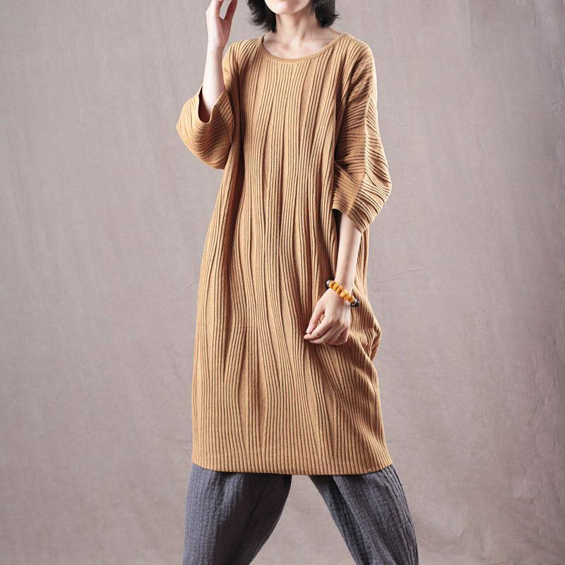 New yellow  sweater dresses oversized bracelet sleeved pullover sweater 2018 long knit sweaters
