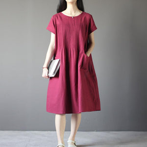 New Burgundy linen sundress plus size shift dresses retro