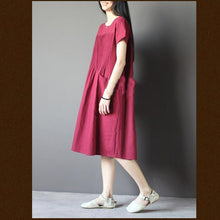 Load image into Gallery viewer, New Burgundy linen sundress plus size shift dresses retro