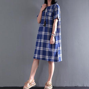 New Casual plaid cotton sundress summer shift dresses opens at back