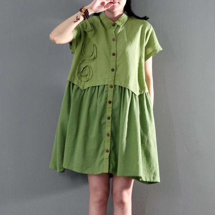 New Green oversize linen summer dress short sleeve sundress maternity dresses