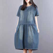 Load image into Gallery viewer, New Midi-length cotton dress Loose fitting Denim Summer Short Sleeve Pockets Dress