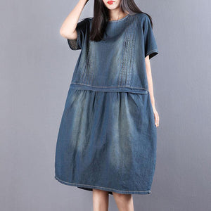 New Midi-length cotton dress Loose fitting Denim Summer Short Sleeve Pockets Dress