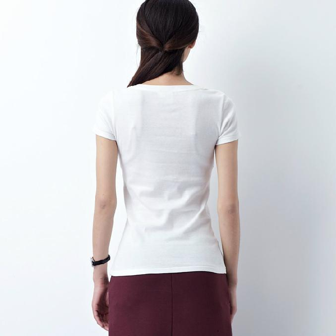 New arrival white short sleeve cotton t shirt women casual summer blouse