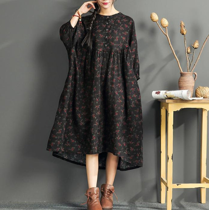 New black print  long linen dress plus size o neck cotton gown boutique high waist caftans