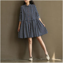 Load image into Gallery viewer, New blue dotted sundress plus size cotton summer dresses navy