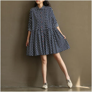 New blue dotted sundress plus size cotton summer dresses navy