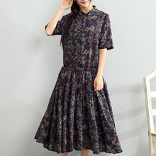 Load image into Gallery viewer, New blue floral long linen dress oversized short sleeve cotton dress top quality tie waist traveling dress