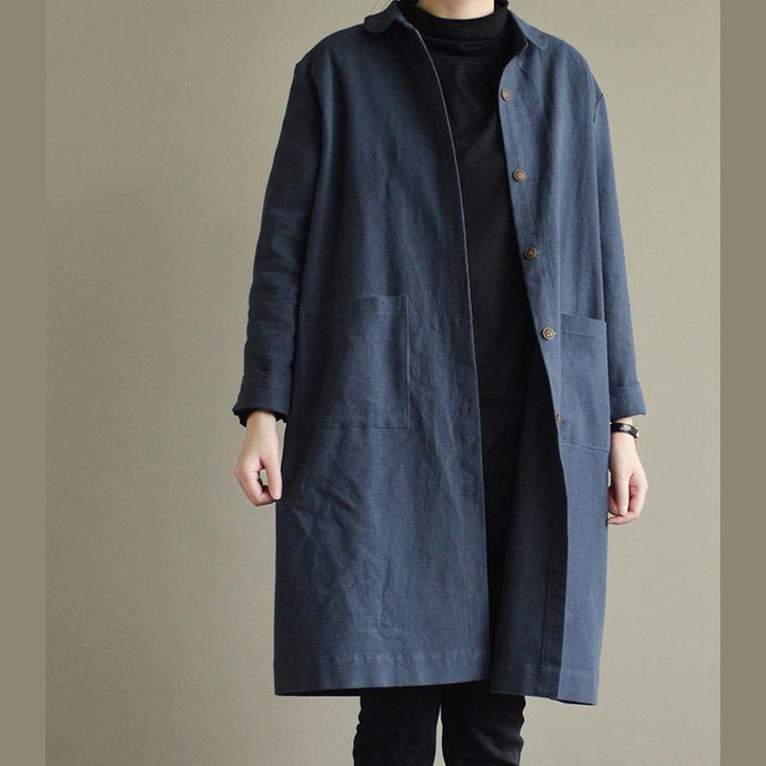 New blue linen Coat Loose fitting Winter coat 2017 trench coat cotton