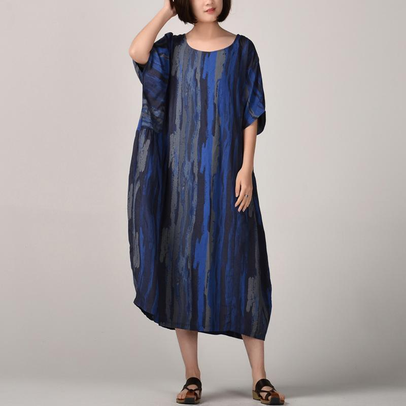 New blue  silk linen maxi dress trendy plus size striped prints linen maxi dress Fine batwing sleeve caftans