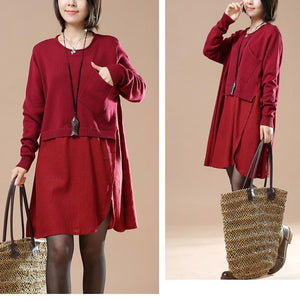 New burgundy layered sweaters oversize winter dresses