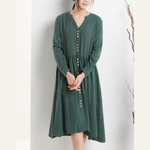 New casual maxi dresses with sleeves summer plus size linen sundresses blackish green