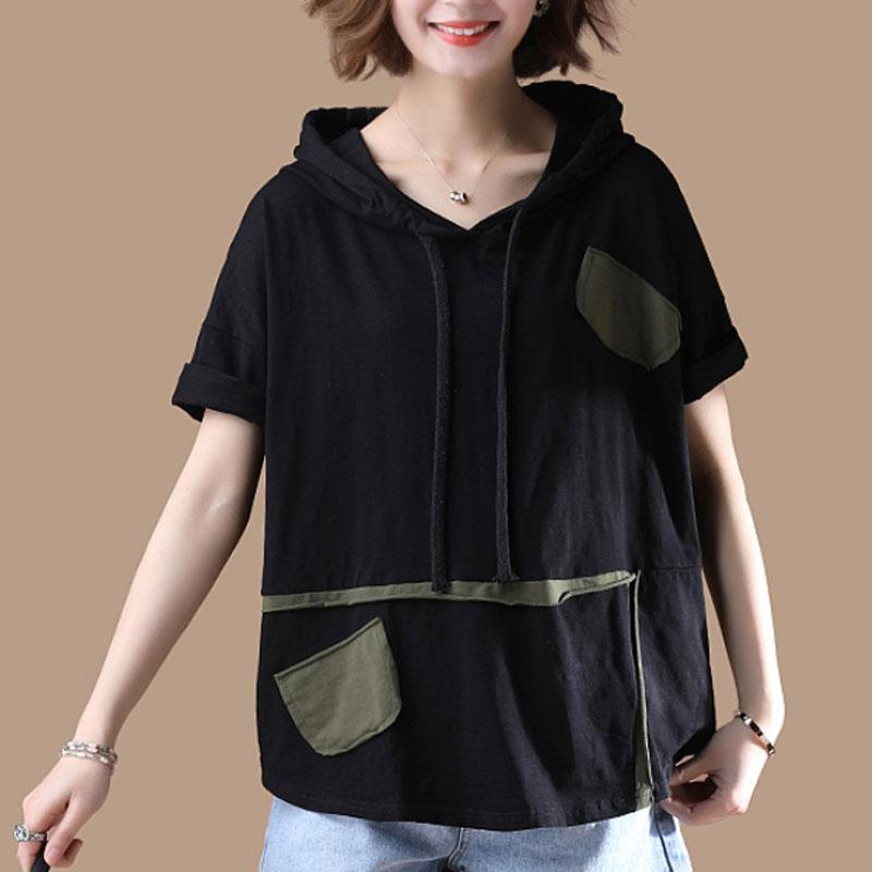 New cotton blouses plus size clothing Hoodies T-shirt Short Sleeve Summer Black Tops