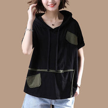 Load image into Gallery viewer, New cotton blouses plus size clothing Hoodies T-shirt Short Sleeve Summer Black Tops