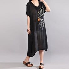 Load image into Gallery viewer, New cotton dresses plus size Embroidery Summer Casual Short Sleeve Black Dress