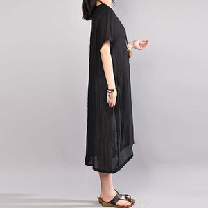 New cotton dresses plus size Embroidery Summer Casual Short Sleeve Black Dress