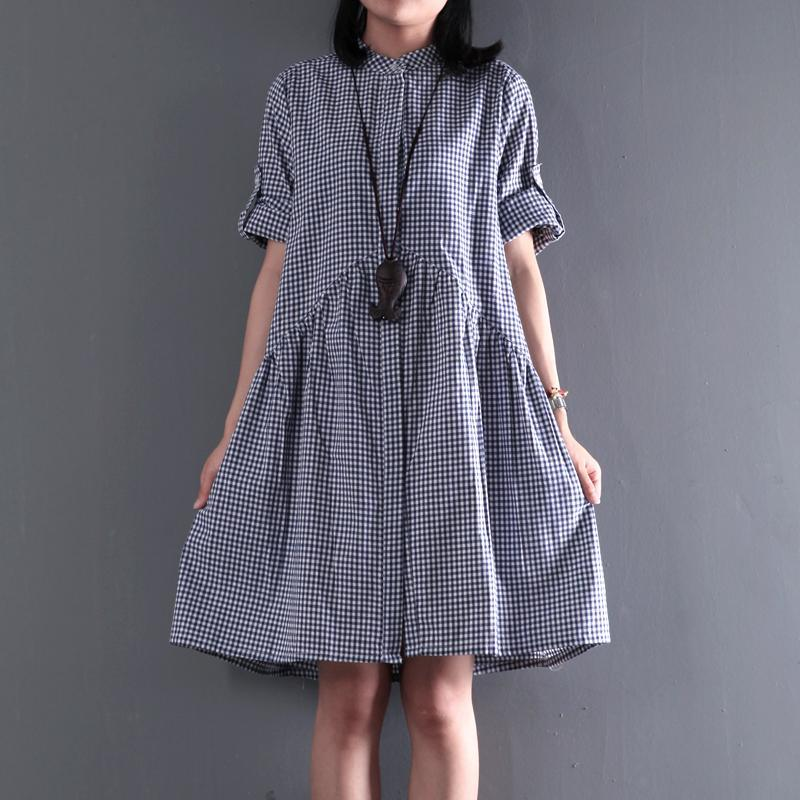 New cotton summer dress blue plaid oversize shift dress maternity sundress