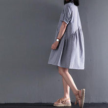 Load image into Gallery viewer, New cotton summer dress blue plaid oversize shift dress maternity sundress