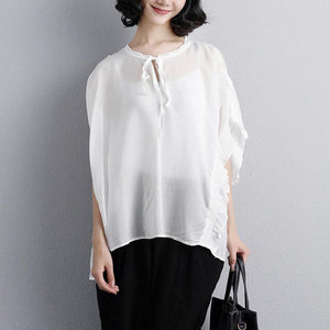 New cotton tops trendy plus size Loose Summer Short Sleeve White Lacing Women Tops
