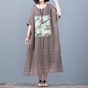 New green print patchwork silk caftans plus size o neck traveling dress New short sleeve caftans
